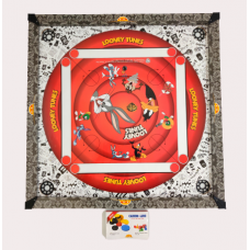 IMPORT Kids Carrom Board Set Including  Striker and Coins  Looney tune Print (66cm x 66cm)