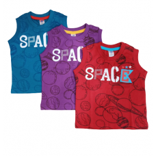 Zero Sleeveless T-shirt Printed (S Blue, Voilet, Red) - Pack of 3