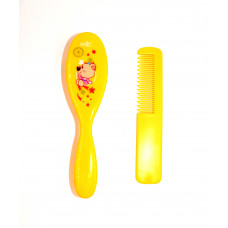 Imported Baby Comb and Brush Set - Yellow