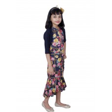Cats Girls party wear midies with bandi(Gold)