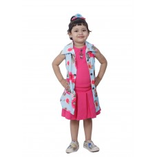 Chitra Girls skirt top with bandi(Pink & S Blue)