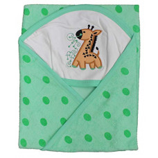 Tinycare Newborn Baby Hooded Color Printed Wrapper Baby Bath Towel (Green)