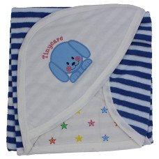 Tinycare Newborn Baby Hooded Color Printed Baby Bath Towel (Blue)