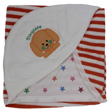 Tinycare Newborn Baby Hooded Color Printed Baby Bath Towel (Orange)