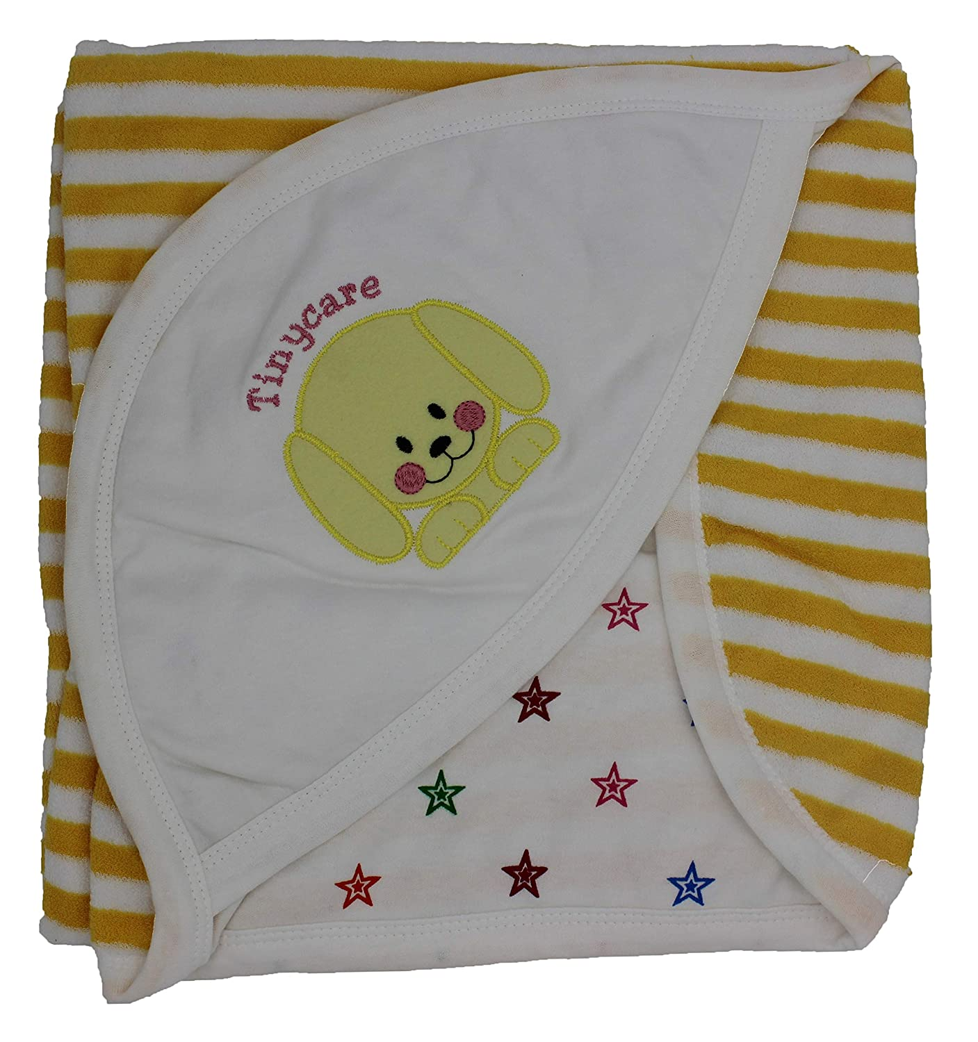 Tinycare Newborn Baby Hooded Color Printed Baby Bath Towel (Yellow)