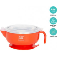MeeMee Stay Warm Baby Steel Bowl with Suction Base (Red) - Steel  (Red)
