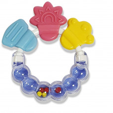LuvLap Multi-Textured Teether and Rattler, Soft Silicone with BPA Free Handle, 4m+ (Multi Coloured)
